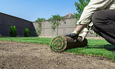 Hovenier legt gras aan