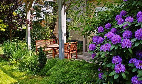 Bloeiende tuin van de hovenier